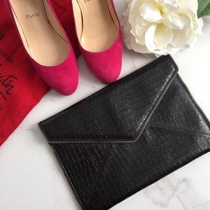 Rebecca Minkoff Leo black envelope clutch